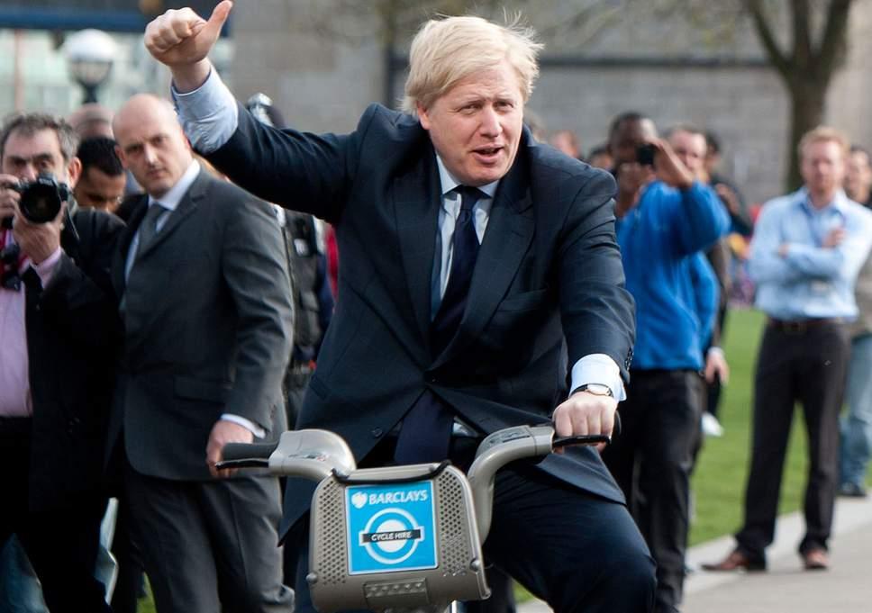 Borris Johnson on a bike