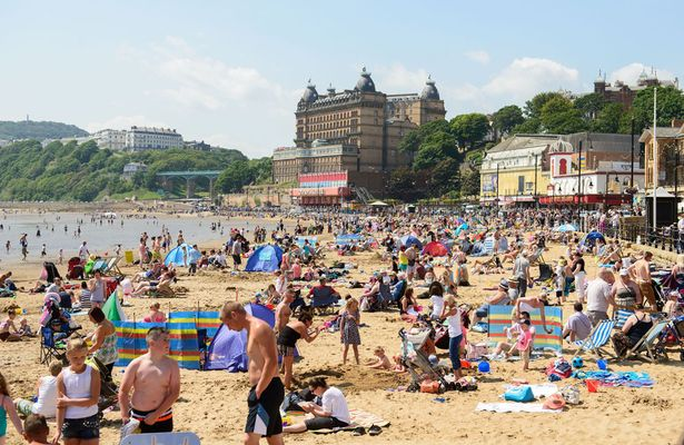 Beach at Scarborough during heatwave