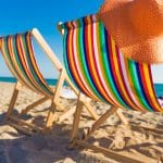 Beach deck chairs in the UK