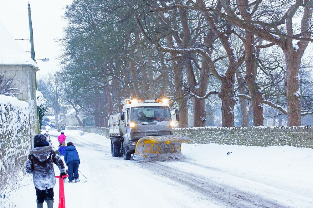 Snow Plough on UK road