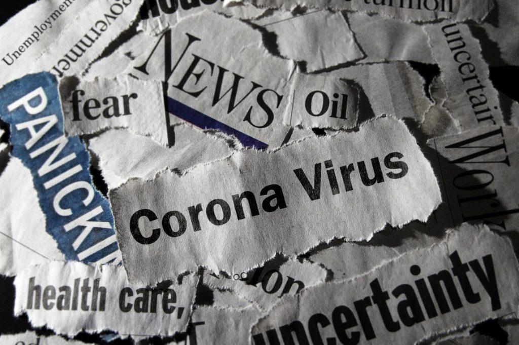 Coronavirus newspaper trimmings