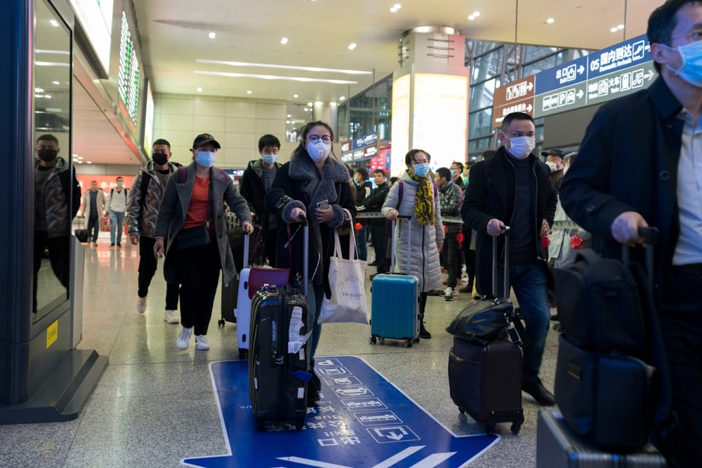 Chinese airport travellers