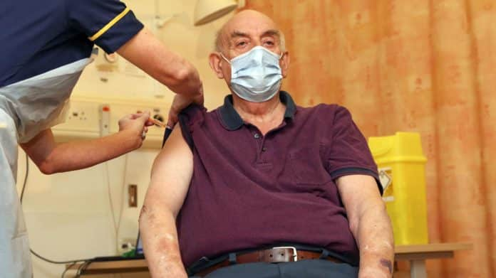 82-year-old Brian Pinker, is the first to get Oxford-AstraZeneca vaccine