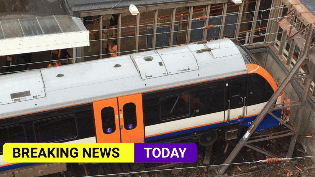 Two injured as London train crashes and almost hits building